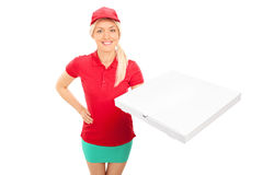 Delivery girl holding a box of pizza Stock Images
