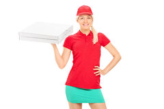 Delivery girl holding two boxes of pizza Royalty Free Stock Image
