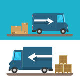 Delivery of goods by car. Pickup van and truck boxes. Royalty Free Stock Photos