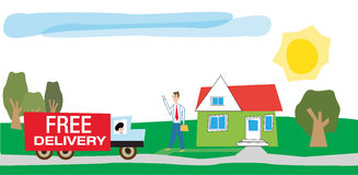 Delivery of goods. Cartoon draw of a businessman waiting in front of his house for the free delivery of a package by the approaching truck from the delivery Royalty Free Stock Photos