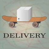 Delivery goods with dolly, skateboard. Delivery goods with skateboard box dolyy  eps Royalty Free Stock Photo