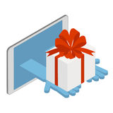 Delivery of goods on the Internet. Delivery of gifts. Vector iso Stock Photography