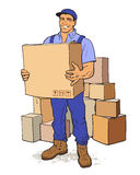 Delivery of goods. Moving Companies. Moving Companies. Shipping. Happy loader stands with box. Vector illustration. Move house service. Transportation of things Stock Photos