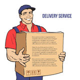 Delivery of goods. Moving Companies. Moving Companies. Shipping. Happy loader stands with box. Vector illustration. Move house service. Transportation of things Royalty Free Stock Photos