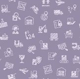 Delivery of goods, seamless pattern, color, shading, pencil, icons, purple, vector. Cargo transportation and delivery of goods. Vector flat seamless pattern stock illustration