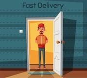 Delivery guy handing a box on doorway. Cartoon vector illustration. Delivery order. Open door. Inside of home Stock Images