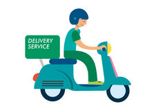 Delivery guy riding scooter Stock Photo