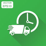 Delivery 24h truck with clock icon. Business concept 24 hours fa Stock Photos