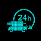 Delivery 24h truck with clock in pixel style logotype. 24 hours Royalty Free Stock Image