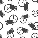 Delivery 24h truck with clock seamless pattern background. Busin. Ess flat vector illustration. 24 hours fast delivery service shipping sign symbol pattern Royalty Free Stock Image