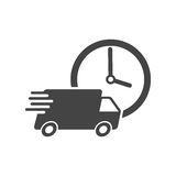 Delivery 24h truck with clock vector illustration. 24 hours fast delivery service shipping icon. Simple flat pictogram for business, marketing or mobile app Royalty Free Stock Photography