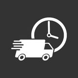 Delivery 24h truck with clock vector illustration. 24 hours fast. Delivery service shipping icon. Simple flat pictogram for business, marketing or mobile app Royalty Free Stock Images