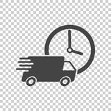 Delivery 24h truck with clock vector illustration. 24 hours fast. Delivery service shipping icon. Simple flat pictogram for business, marketing or mobile app Royalty Free Stock Photography