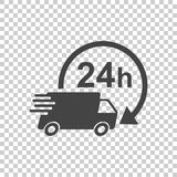 Delivery 24h truck with clock vector illustration. 24 hours fast. Delivery service shipping icon. Simple flat pictogram for business, marketing or mobile app Royalty Free Stock Image