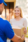 Delivery from hands to hands. Royalty Free Stock Photo