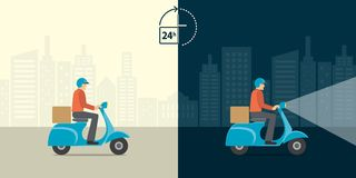 Delivery 24 hour concept. Delivery man ride scooter motorcycle s. Ervice with all day all night background. Fast and free worldwide shipping. Vector illustration Royalty Free Stock Photo