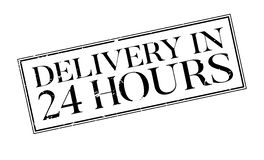 Delivery In 24 Hours rubber stamp. Grunge design with dust scratches. Effects can be easily removed for a clean, crisp look. Color is easily changed Royalty Free Stock Images