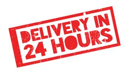 Delivery In 24 Hours rubber stamp. Grunge design with dust scratches. Effects can be easily removed for a clean, crisp look. Color is easily changed Stock Photos