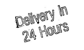 Delivery In 24 Hours rubber stamp. Grunge design with dust scratches. Effects can be easily removed for a clean, crisp look. Color is easily changed Stock Photo