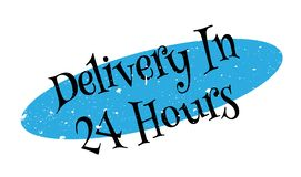 Delivery In 24 Hours rubber stamp. Grunge design with dust scratches. Effects can be easily removed for a clean, crisp look. Color is easily changed Stock Photography