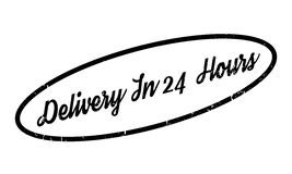 Delivery In 24 Hours rubber stamp. Grunge design with dust scratches. Effects can be easily removed for a clean, crisp look. Color is easily changed Stock Images