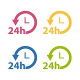 Delivery 24 Hours Service Flat Icon Set - Colorful Vector Collection - Isolated On White. Background Royalty Free Stock Photos