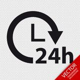 Delivery 24 Hours Service Flat Icon - Vector Illustration - Isolated On Transparent Background Stock Photo