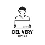 Delivery icon concept. Delivery man service, order, worldwide sh Stock Photos