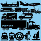 Delivery icon. Flat icon black color for transportation Royalty Free Stock Photos