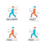 Delivery icon set. Delivery man service, order, 24 hour, fast an. D free worldwide shipping. Thin line icon vector illustration Royalty Free Stock Photos