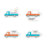 Delivery icon set. Pickup service, order, 24 hour, fast and free. Worldwide shipping. Thin line icon vector illustration Stock Photography