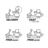 Delivery icon set. Scooter motorcycle service, order, 24 hour, f. Ast and free worldwide shipping. Modern line icon vector illustration Royalty Free Stock Image