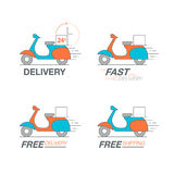 Delivery icon set. Scooter motorcycle service, order, 24 hour, f. Ast and free worldwide shipping. Thin line icon vector illustration Royalty Free Stock Images