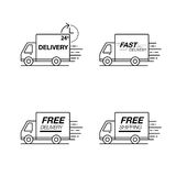 Delivery icon set. Truck service, order, 24 hour, fast and free. Worldwide shipping. Modern line icon vector illustration Royalty Free Stock Photos
