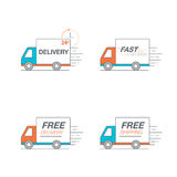 Delivery icon set. Truck service, order, 24 hour, fast and free. Worldwide shipping. Thin line icon vector illustration Stock Photography