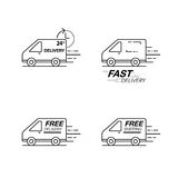 Delivery icon set. Van service, order, 24 hour, fast and free wo. Rldwide shipping. Modern line icon vector illustration Stock Photos