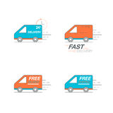 Delivery icon set. Van service, order, 24 hour, fast and free wo. Rldwide shipping. Thin line icon vector illustration Royalty Free Stock Image