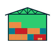 Delivery icon with warehouse building Stock Photo