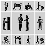 Delivery icons black Royalty Free Stock Photography