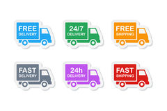 Delivery icons. Colorful delivery stickers. free delivery and fast delivery, free shipping and fast shipping, 24/7 and 24 hour delivery icons set. vector Royalty Free Stock Photography