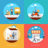Delivery icons flat set Stock Image