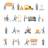 Delivery icons flat set Stock Photo
