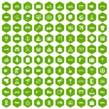 100 delivery icons hexagon green. 100 delivery icons set in green hexagon isolated vector illustration royalty free illustration