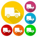 Delivery icons with long shadow set Royalty Free Stock Photo