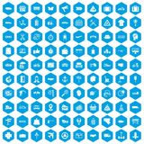 100 delivery icons set blue. 100 delivery icons set in blue hexagon isolated vector illustration Stock Photography