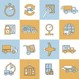Delivery icons set flat line Stock Image