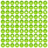 100 delivery icons set green. 100 delivery icons set in green circle isolated on white vectr illustration Stock Illustration