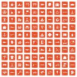 100 delivery icons set grunge orange. 100 delivery icons set in grunge style orange color isolated on white background vector illustration Vector Illustration