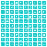 100 delivery icons set grunge blue. 100 delivery icons set in grunge style blue color isolated on white background vector illustration Stock Images