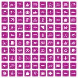 100 delivery icons set grunge pink. 100 delivery icons set in grunge style pink color isolated on white background vector illustration Royalty Free Illustration